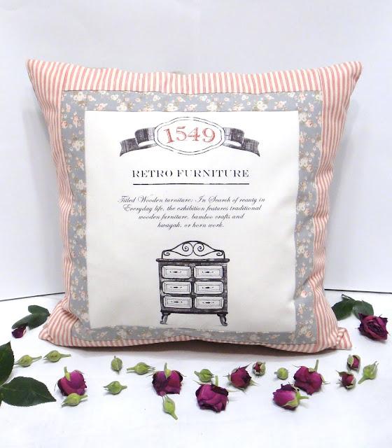 Винтажный подарок Retro furniture 1549 год Подушки печворк текстиль в серо-розовой гамме для гостиной и офисов