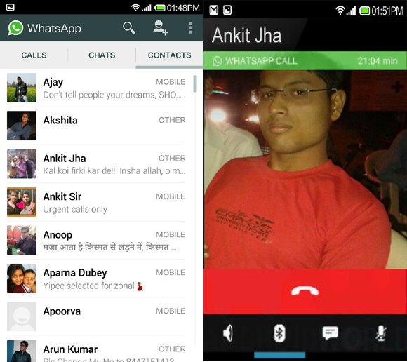 making calls using whatsapp