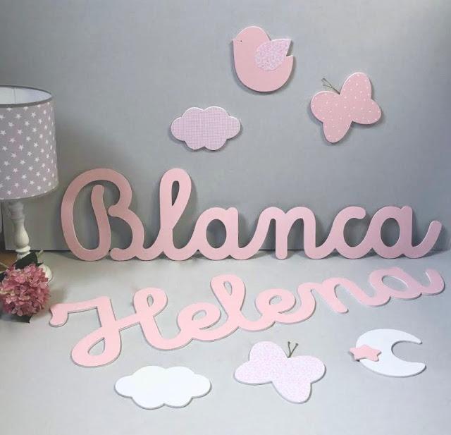 nombre infantil de niña BLANCA Y HELENA para pegar en la pared , decoración infantil