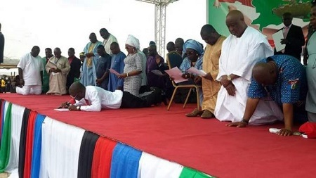Governor Samuel Ortom and wife at the service