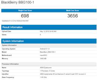 Leaked Specs of BlackBerry KEY2 Lite (BBG100-1)