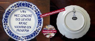 "vintage blue and white Delfts Pottery Dutch proverb Wall Plate with mention Van het concert des levens krijgt niemand een program"""