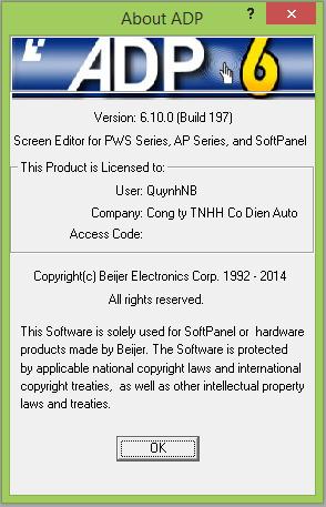 Phần mềm lập trình HMI Hitech ADP V6.10.0