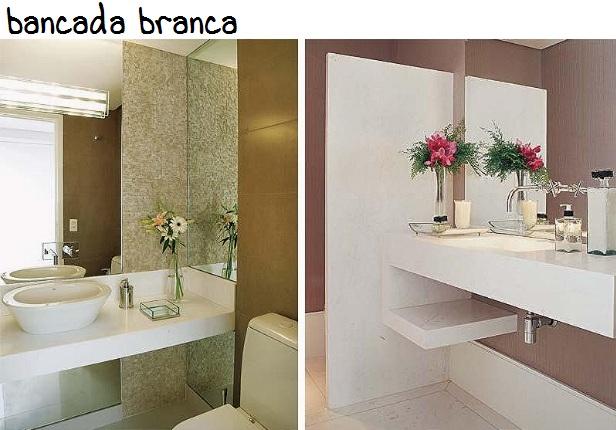 Construindo Minha Casa Clean 20 Bancadas Brancas de BanheirosLavabos  Veja -> Conversa Banheiro Feminino