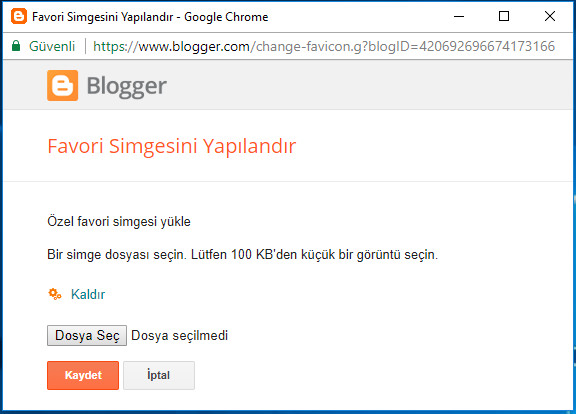 blogger favicon ekleme