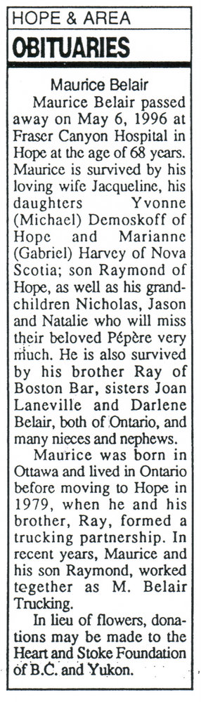 May 1996 obituary of Maurice Belair