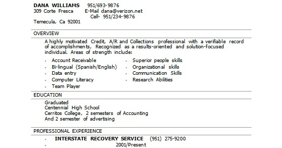 interstate recovery agent sample resume format in word free download
