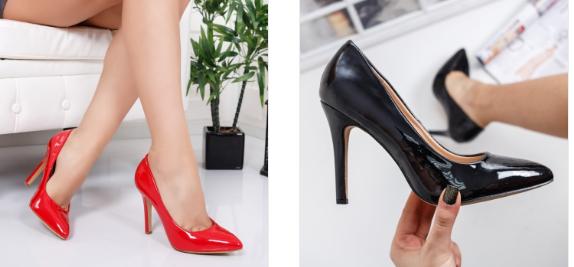 Pantofi eleganti cu toc inalt din piele lacuita negri, rosii