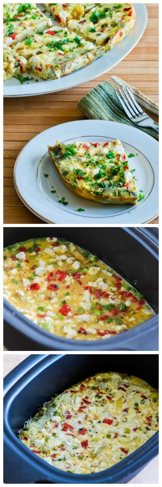 Slow Cooker Frittata with Artichoke Hearts, Roasted Peppers, and Feta from Kalyn's Kitchen featured for Casserole Crock Saturdays on SlowCookerFromScratch.comz