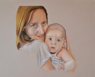 Retrato a pastel. Una madre con su bebé