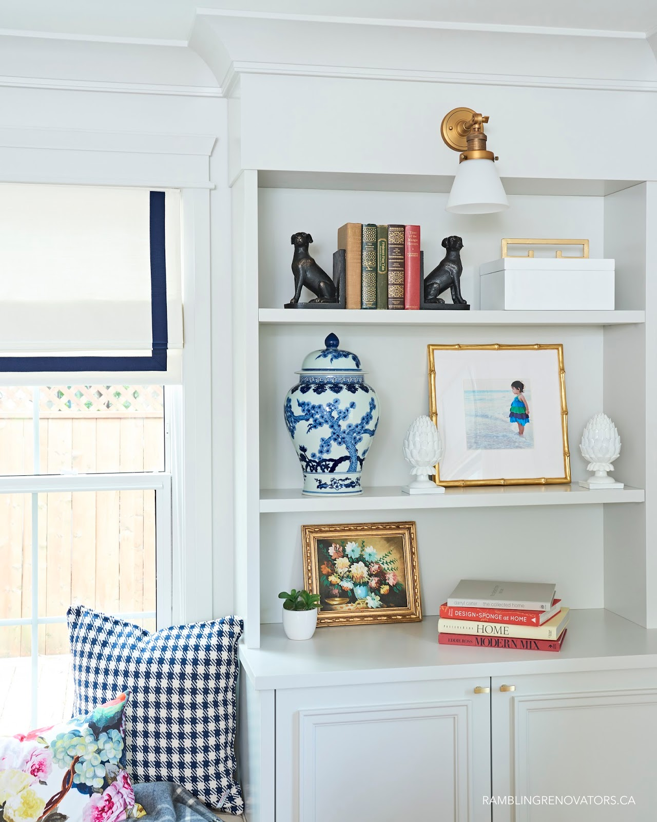 modern traditional colonial living room, built in window seat and bookcase