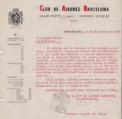 Carta de Joaquim Gil Daniel a Ángel Ribera en 1963