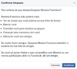 Confirmar block numa pessoa do Facebook