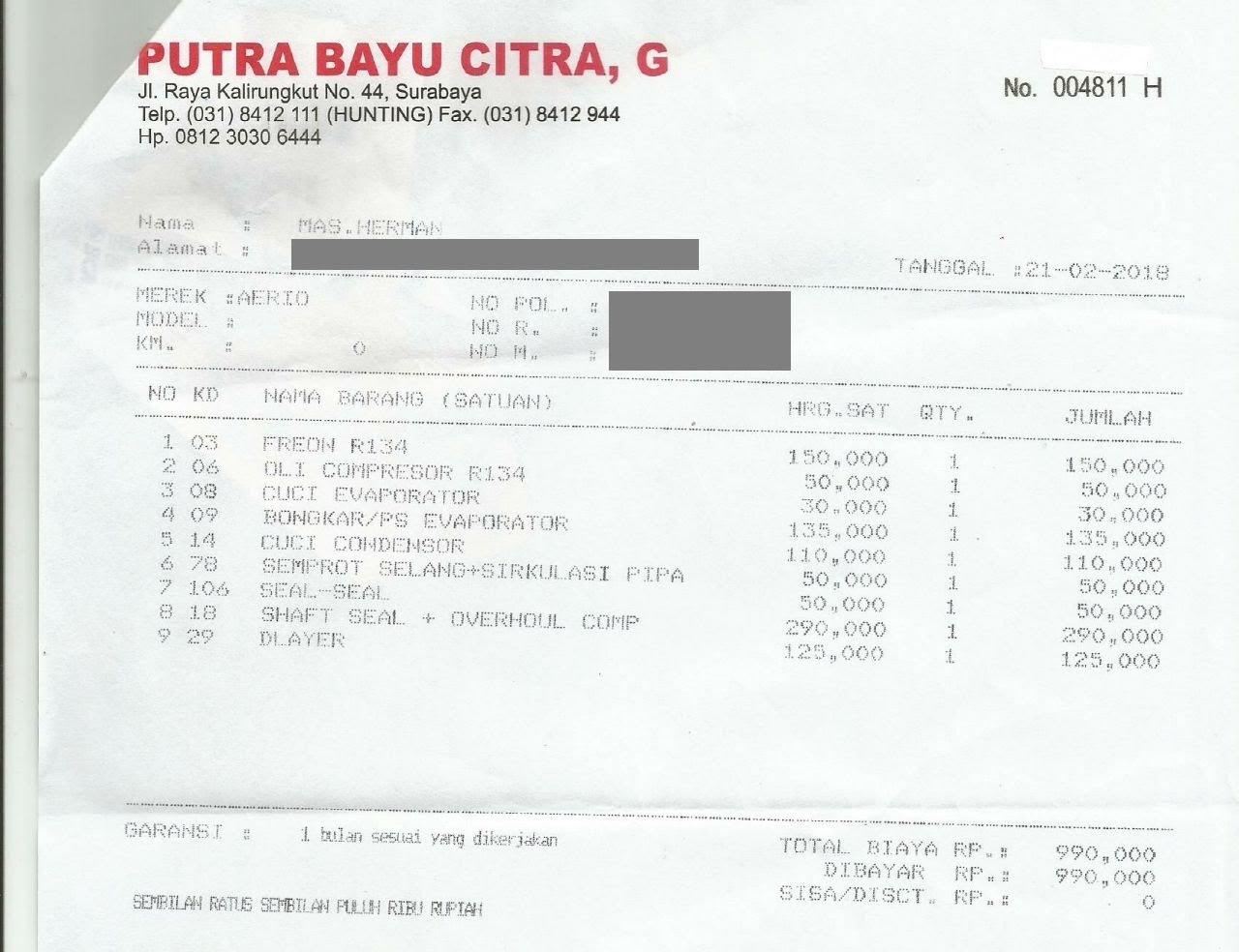 Share Biaya Service Ac Aerio Di Putra Bayu Rungkut Surabaya Herman Aic 326