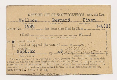 Notice of classification, 22 Sept 1943, Wallace B. Dixon, Class 3-A.