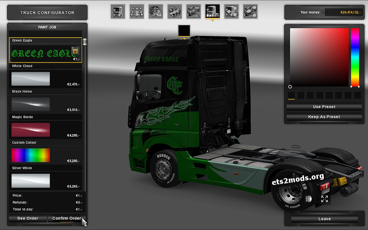 Green Eagle Skin for Mersedes MP4