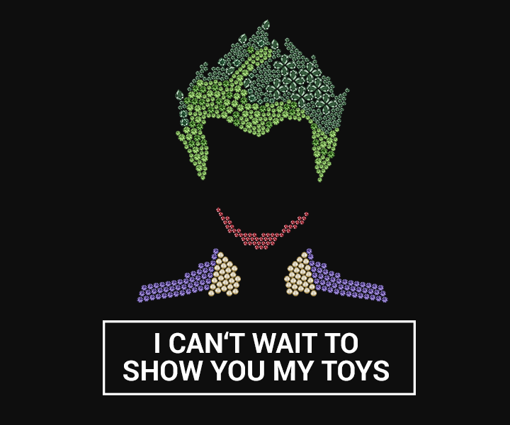 This picture shows the silhouette of the Joker from Suicide Squad with Swarovski crystals.