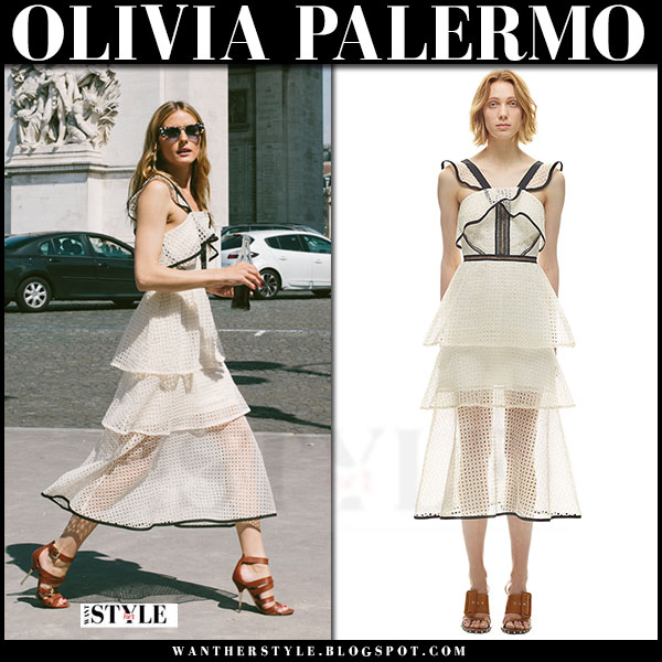 Olivia Palermo in cream eyelet lace contrast trim Self Portrait dress and brown sandals what she wore