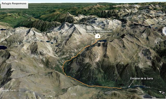 Mapa señalizado de la ruta de la Sarra al Refugio Respomuso.