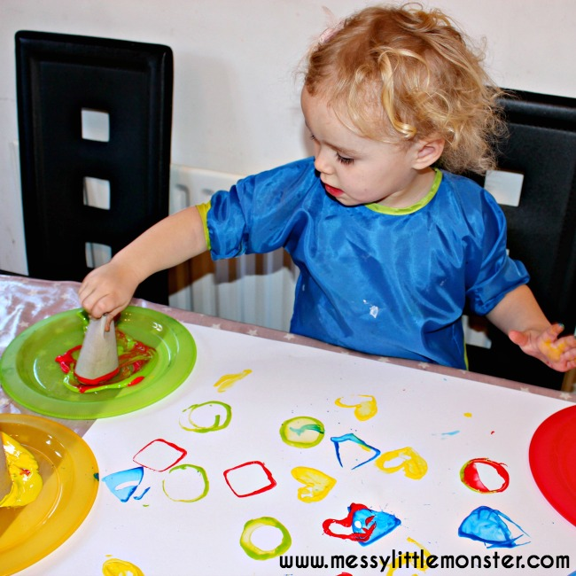 learn shapes with 2D shape painting for toddlers and preschoolers