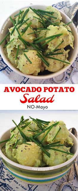 Tender baby potatoes in a creamy Avocado sauce - NO Mayo !
