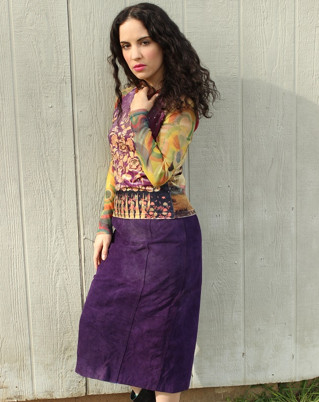 Purple Suede Skirt