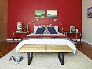 habitación juvenil rojo gris