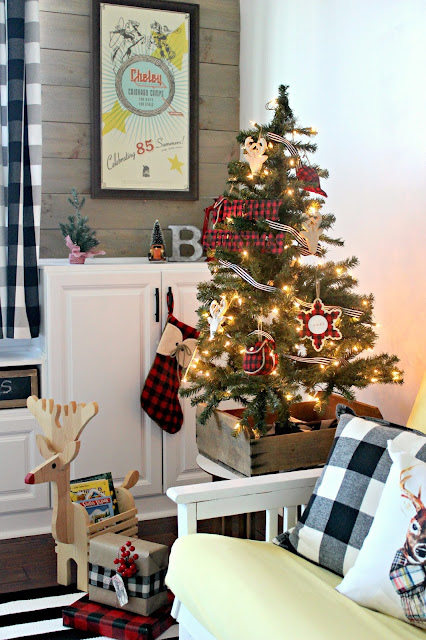 A Very Merry Plaid and Rustic Christmas Playroom. Festive Christmas tour with lots of fun ideas!