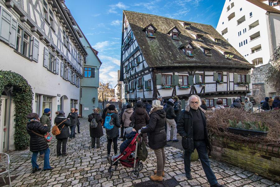 Schiefe Haus en el barrio de pescadores de Ulm, Fischerviertel