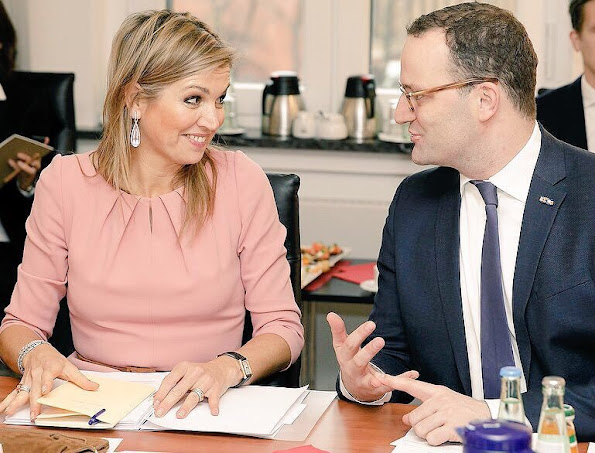 Queen Maxima wore Natan Dress and Coat, Steltman Jewelry gold diamond earrings Steltman Jewelry Store