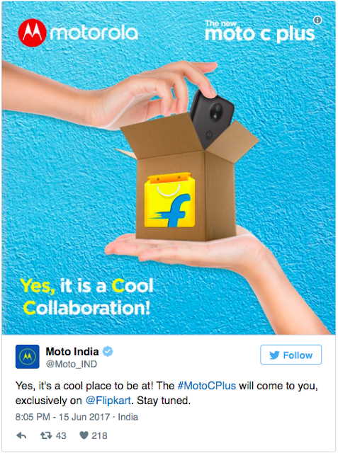 Motorola's tweet and advertorial confirm Moto C Plus would be a Flipkart exclusive