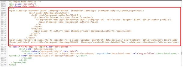 Cara Menghilangkan Nama Penulis Artikel di Blog