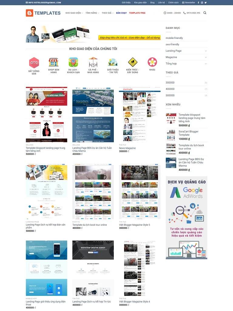 Flatsome Blogger Template dịch vụ bán giao diện web/blog
