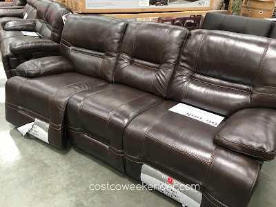 No one will blame you for being a couch potato on the Pulaski Furniture Leather Reclining Sofa