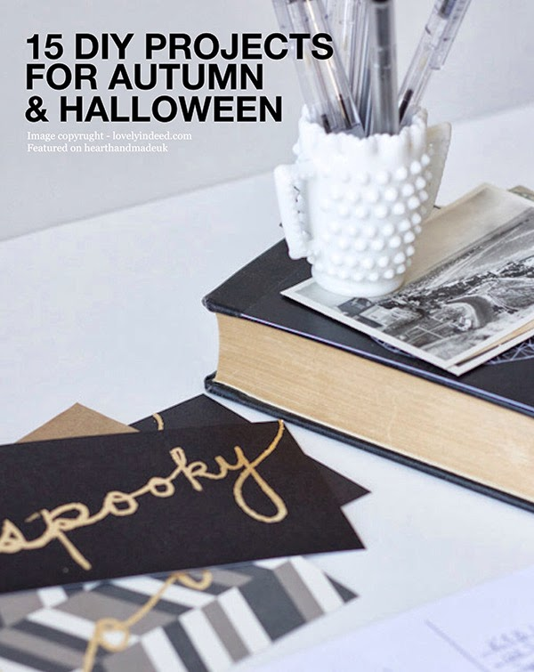 15 DIY Projects for Autumn and Halloween Gold Spooky Postcard by lovelyindeed