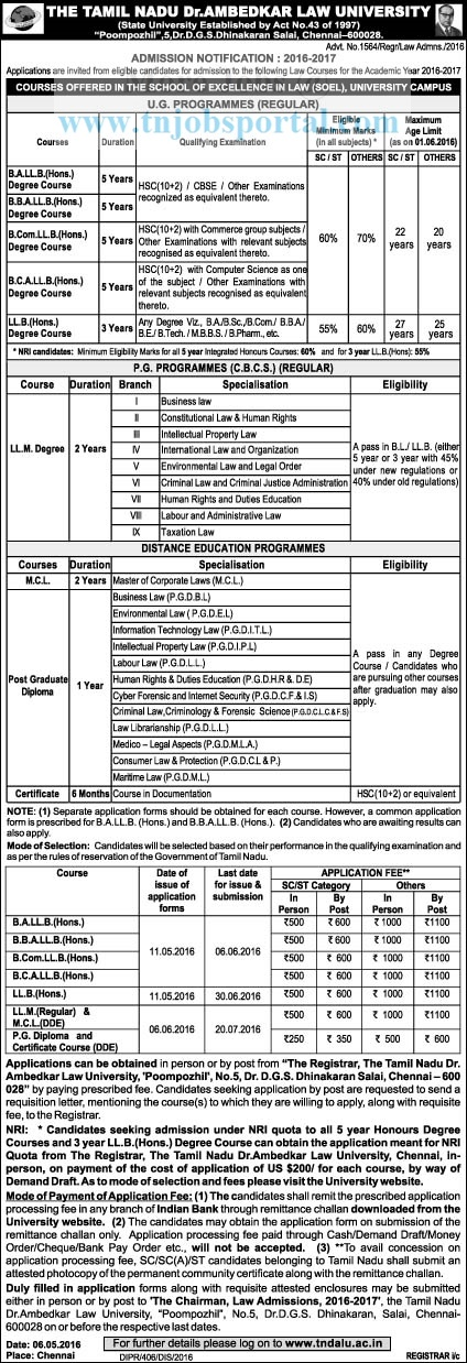 tamilnadu bl, llb, ml courses admission 2016