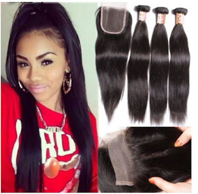 Lace Closure + Brazilian Virgin Straight Hair by B&F Hair