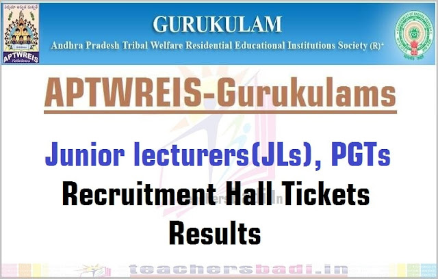APTwreis,Junior lecturers(JLs),PGTs Recruitment,Hall Tickets.Results