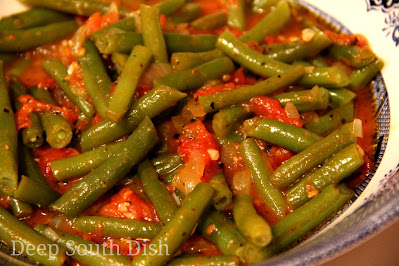 Garden fresh green beans and tomatoes stewed down with sweet Vidalia onion, brown sugar and seasonings.