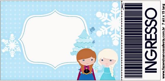 Tarjeta con forma de ticket de Frozen Niñas en Navidad.