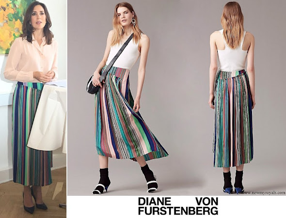 Crown Princess Mary wore Diane Von Furstenberg Tailored Asymmetric Overlay Skirt