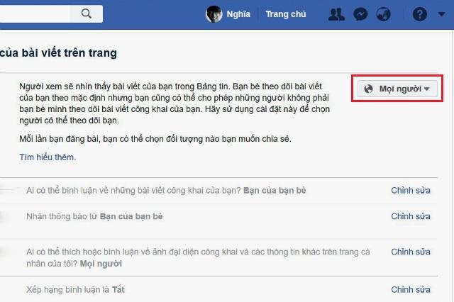 Cách bật chế độ theo dõi trên facebook 2