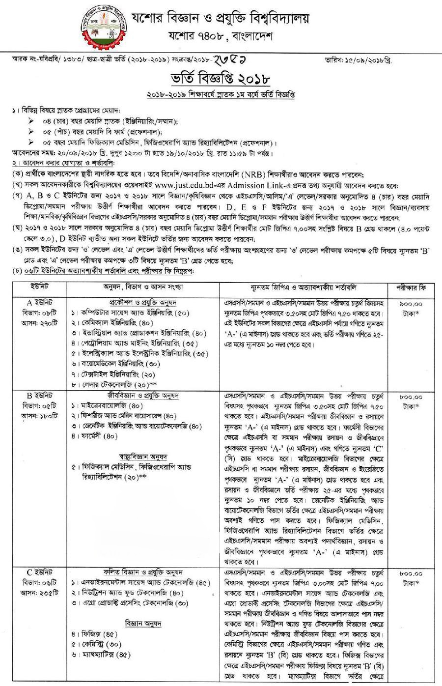 JUST Admission Test Circular Notice Result 2018-19 Session Download
