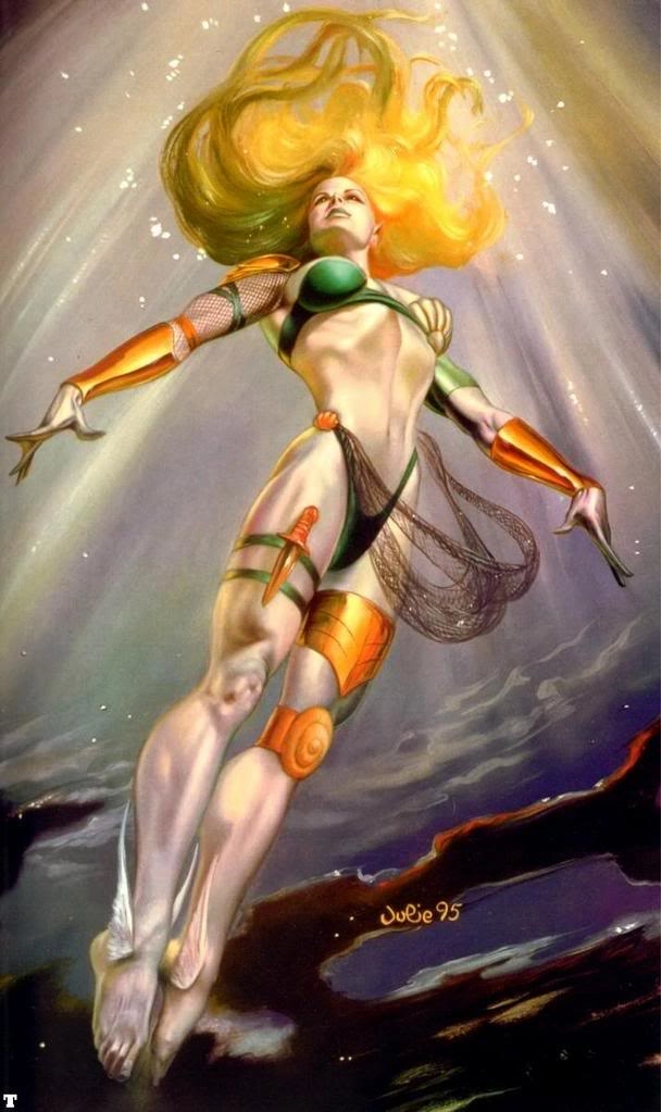Namorita is a cousin of Prince Namor of Atlantis, the sunken city of Homo mermanus.