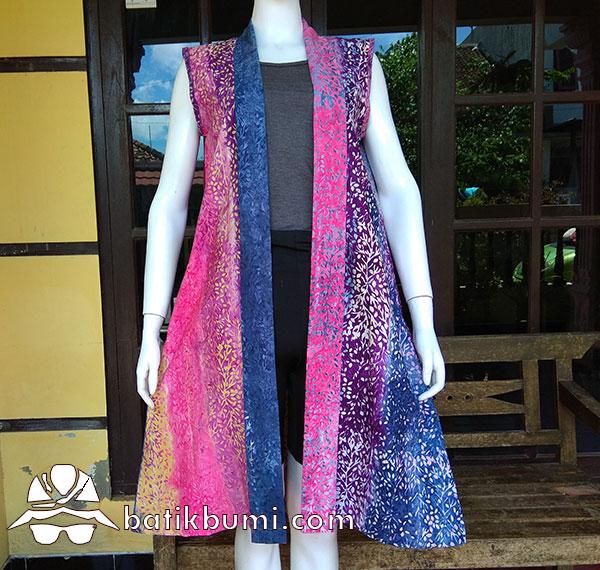 Outer Batik Cap Smoke Pelangi Pink