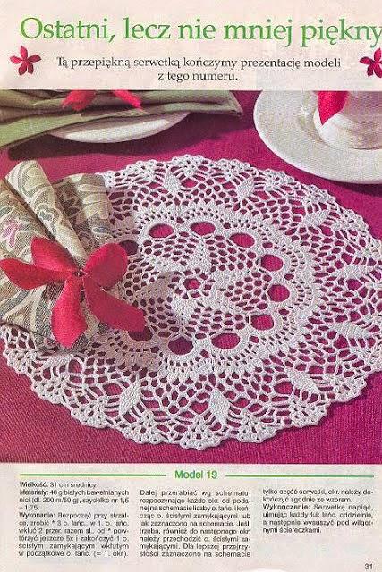 Carpeta circular tejida con ganchillo - con esquemas