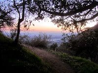 View south after sunset from Bailey Canyon Trail at the cabin foundation, above Sierra Madre, Angeles National Forest