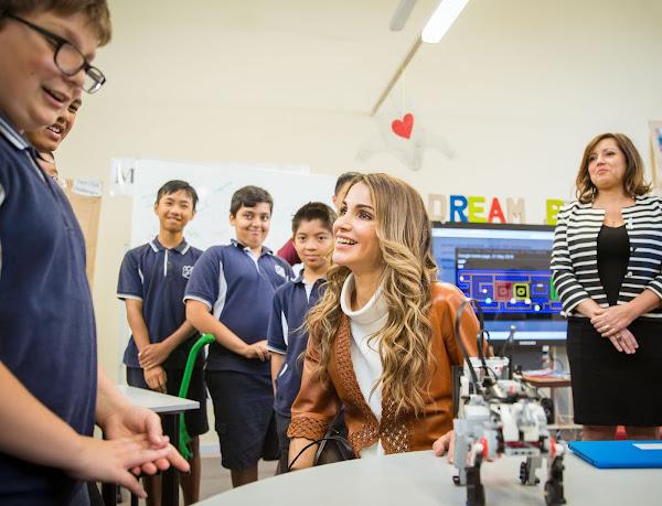 Queen Rania Wore A Leather Jacket Gianvito Rossi Umps Prada Handbags Fendi