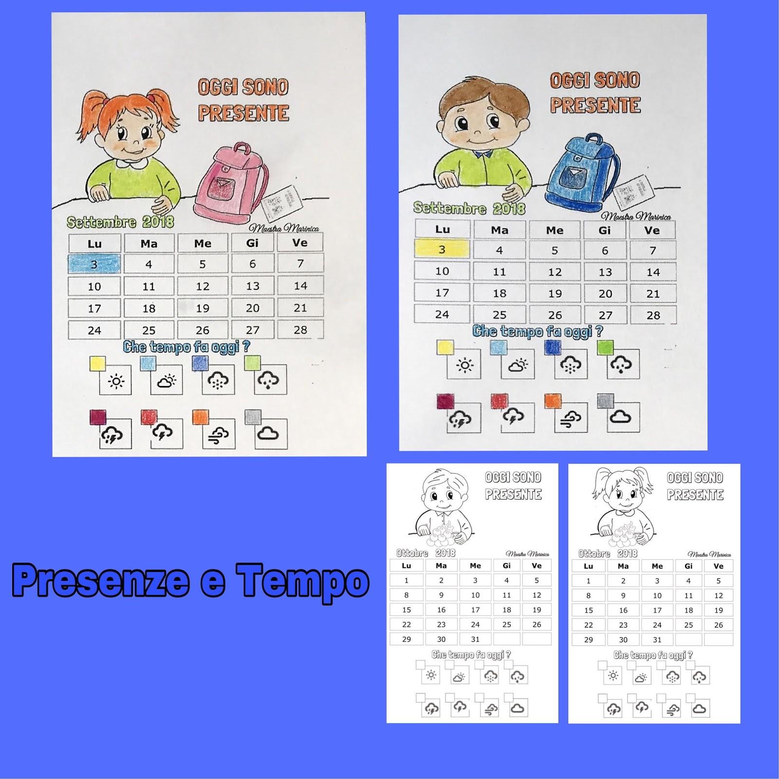 Calendario Del Tempo Scuola Infanzia.Maestra Marinica Calendario Delle Presenze E Tempo