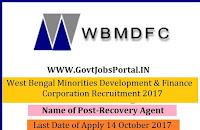 West Bengal Minorities Development & Finance Corporation Recruitment 2017– Recovery Agent